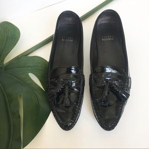 Stuart Weitzman Patent Leather Pointed Toe Loafers